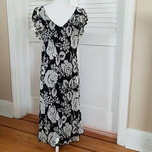 INC International Concepts Dresses - New INC Black & White Floral Print Silk Dress